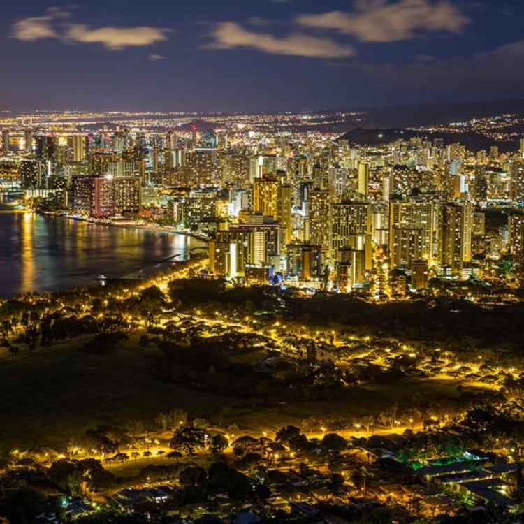 Lights at night in Honolulu